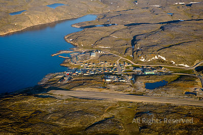 Airport and Inuit Village of Ivujivik Nunavik Quebec Canada