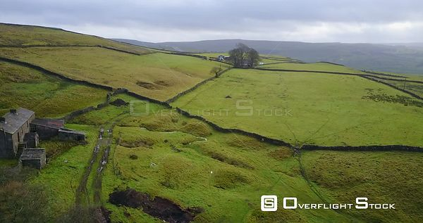 British Countryside, Green fields, abandoned  Farm House