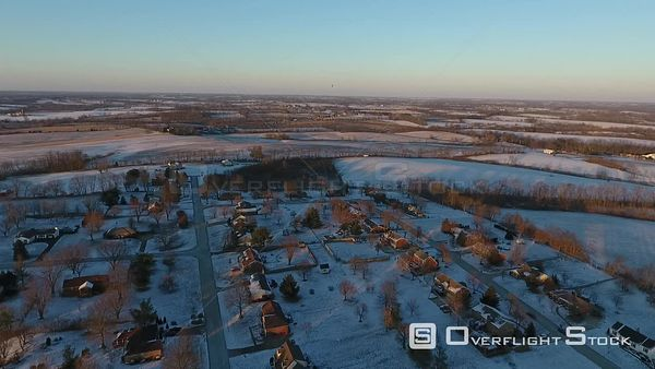 Early Morning Winter Snow Covering Rural Town of Shelbyville Indiana Drone Aerial View