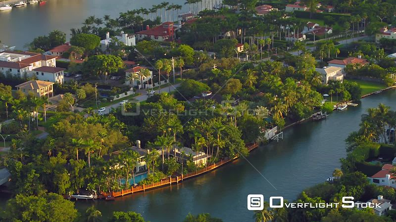 Aerial video nicest homes in Miami Beach FL