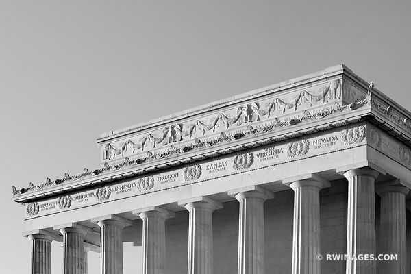 LINCOLN MEMORIAL WASHINGTON DC ARCHITECTURE BLACK AND WHITE