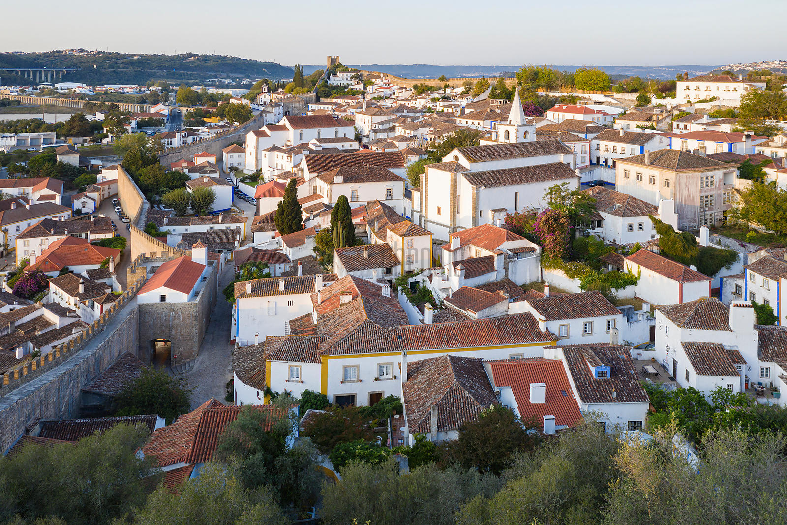 View of Óbidos from the City Walls at Sunrise