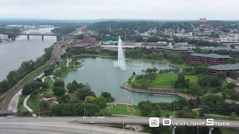 Conagra Lake and a fountain, Omaha, Nebraska, USA