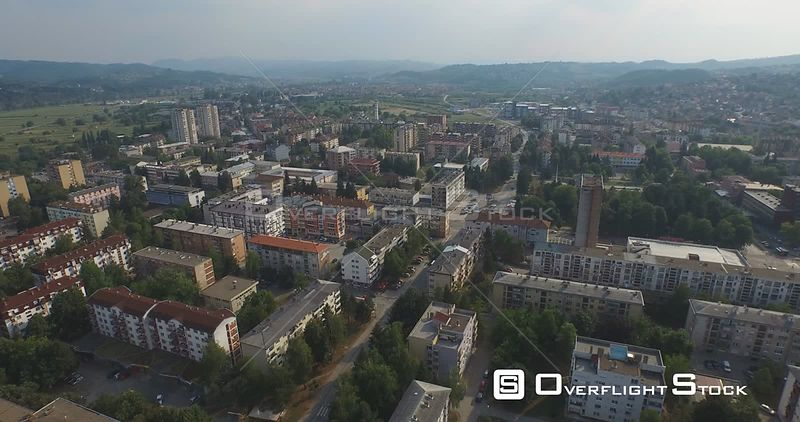 DOBOJ, BOSNIA Aerial shot of city center 15 months after devastating floods, on  August 19, 2015 in Doboj, Bosnia and Herzego...