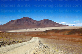 View towards Salvador Dali desert and Cerro Boratera de Chalviri volcano, Eduardo Avaroa Andean Fauna National Reserve, Bolivia