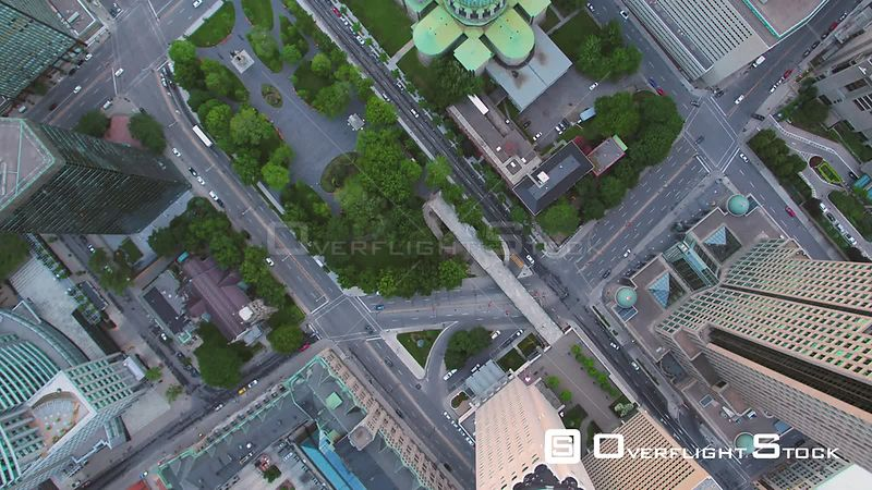 Vertical View of Downtown Buildings Montreal Quebec Canada