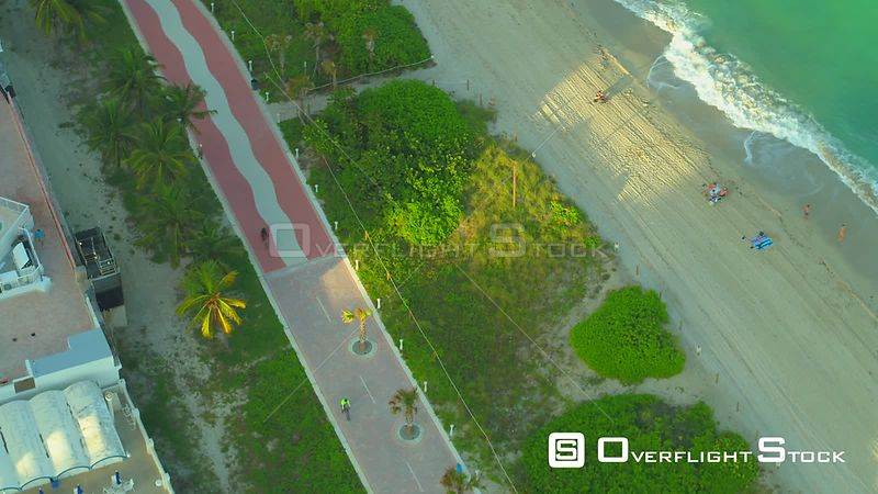 Aerial Atlantic Greenway footage 4k Miami Beach FL