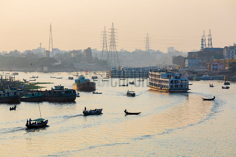 A Riverboat heads North up the Buriganga River