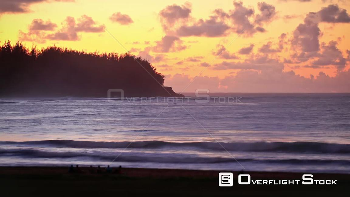 Beautiful beach time lapse clip during sunset. Hawaii