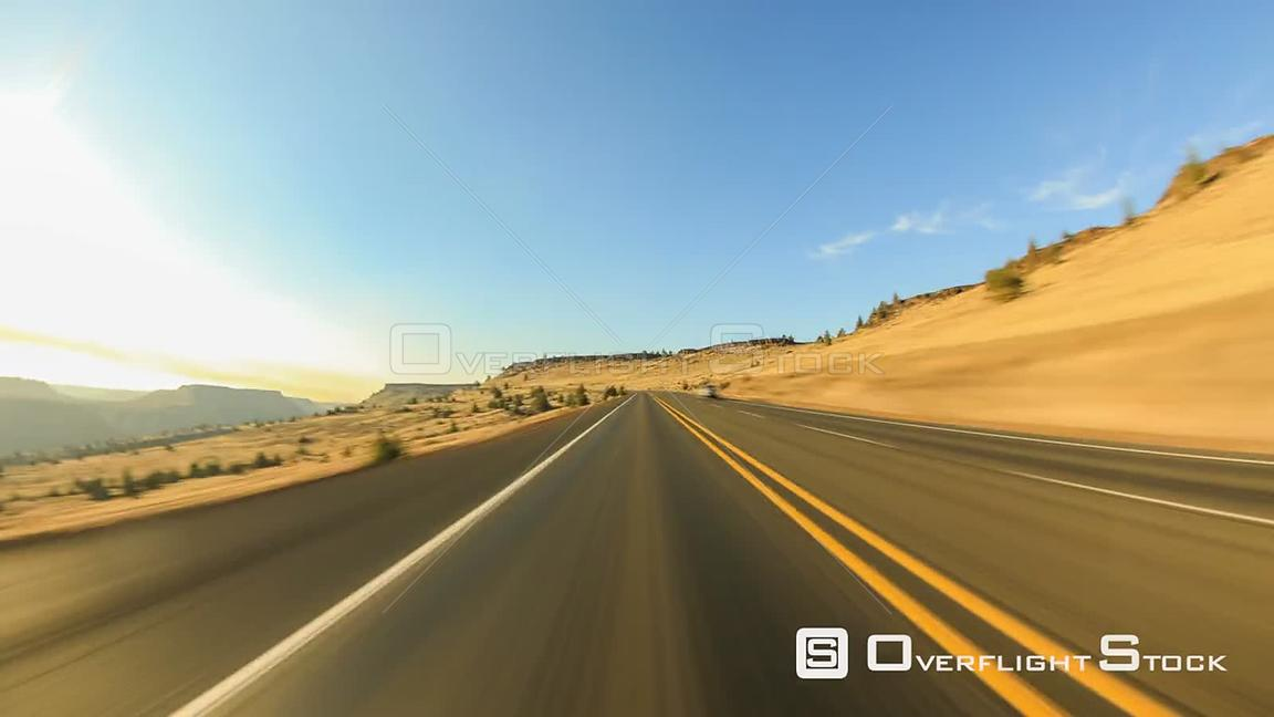 Driving time lapse through Warm Springs, Oregon canyon.