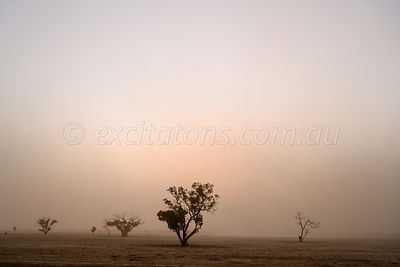 Dust over Australian farm.