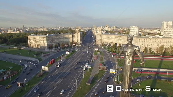 Sunset Pass Over Gagarin Square in Moscow, With Gagarin Statue Fly By. Moscow Russia Drone Video View