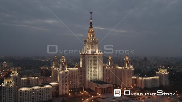 Dusk Circle Flight Moscow State University With City Lights. Moscow Russia Drone Video View
