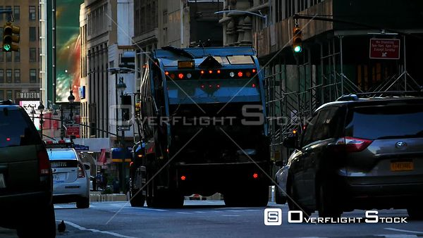 Garbage Truck New York During Covid-19 Pandemic Lockdown