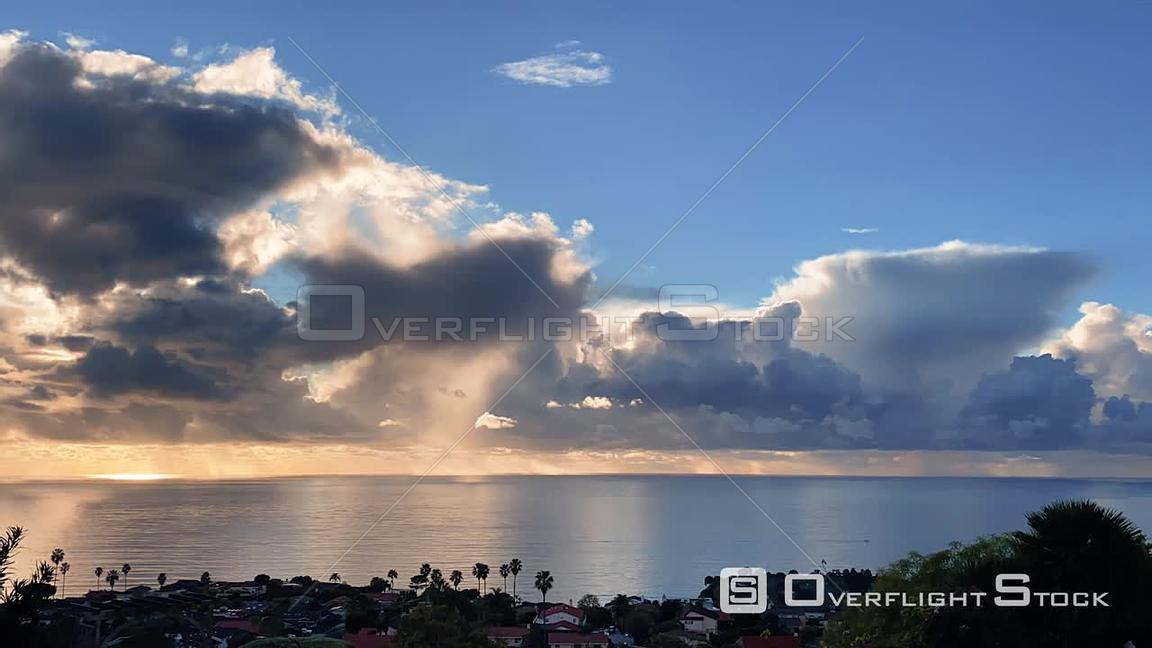Time Lapse of Rainstorm Clouds over Pacific Ocean Los Angeles California