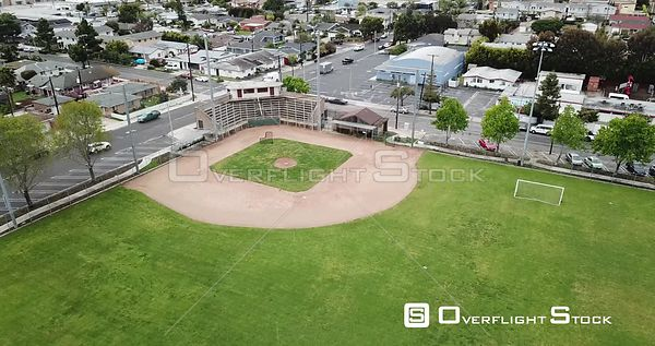 Drone Video Baseball Park and Neighbourhood Los Angeles during COVID-19 Pandemic
