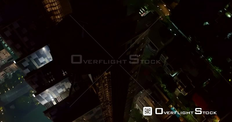 Thailand Bangkok Aerial Detail close up panning view of condominium at night