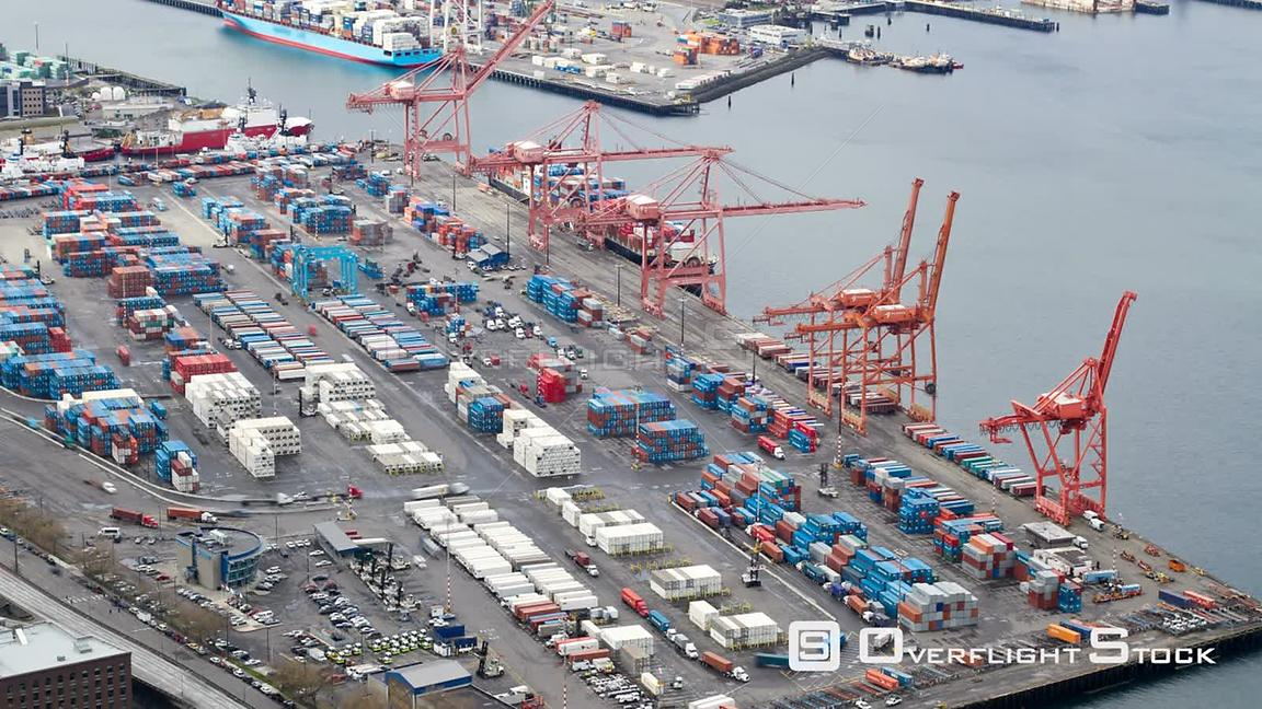 Seattle Washington State USA Time lapse of Seattle shipyard and industrial area.