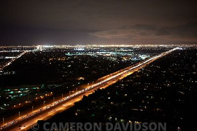Aerial of the Don Shula Expressway at night
