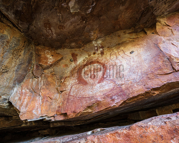 Aboriginal rock painting at Galvans Gorge