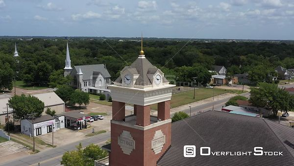 Clock tower over city hall, Navasota, Texas, USA