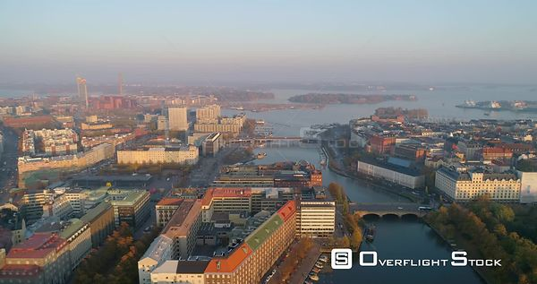 Helsinki cityscape, C4K aerial, dolly, drone shot, of the Hakaniemi, kruunuhaka and sornainen, from the bridge towards ympyra...