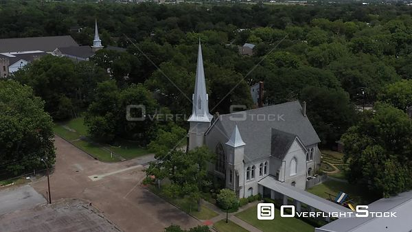 Two churches in a small town, Navasota, Texas, USA