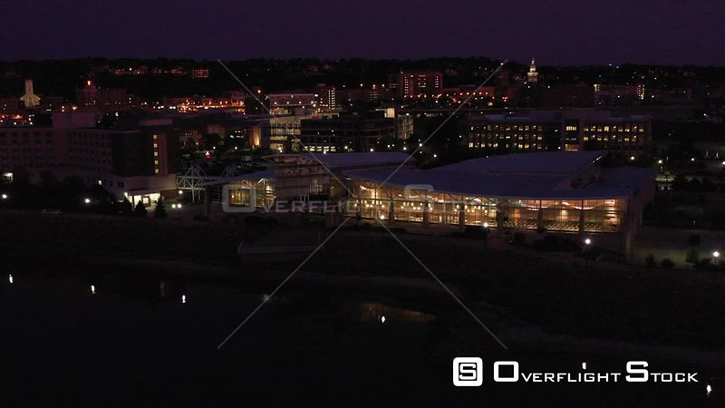 Convention Center and Downtown Lights, Dubuque, Iowa, USA