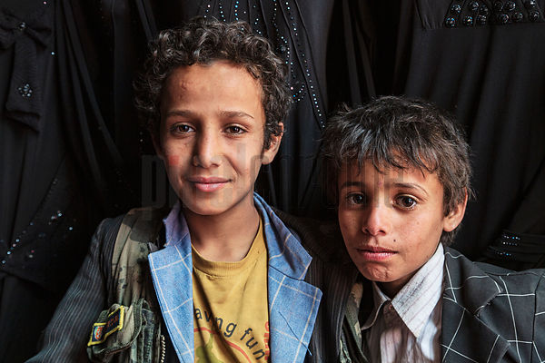 Portrait of Yemeni Boys in a Market in the Old City of Sana'a