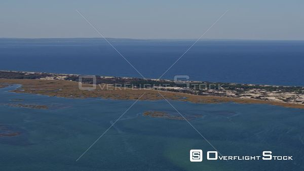 Cape Cod Massachusetts Ascending panoramic view of the Great Marshes with neighborhood and Bay views