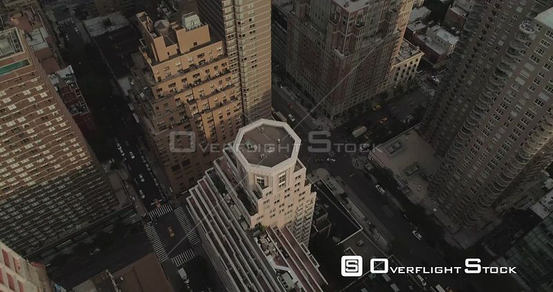 Aerial View Tlts up Over Manhattan Buildings on Upper East Side New York City
