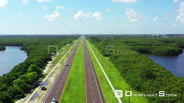 Aerial video road 687 4th Street North St Petersburg Florida USA