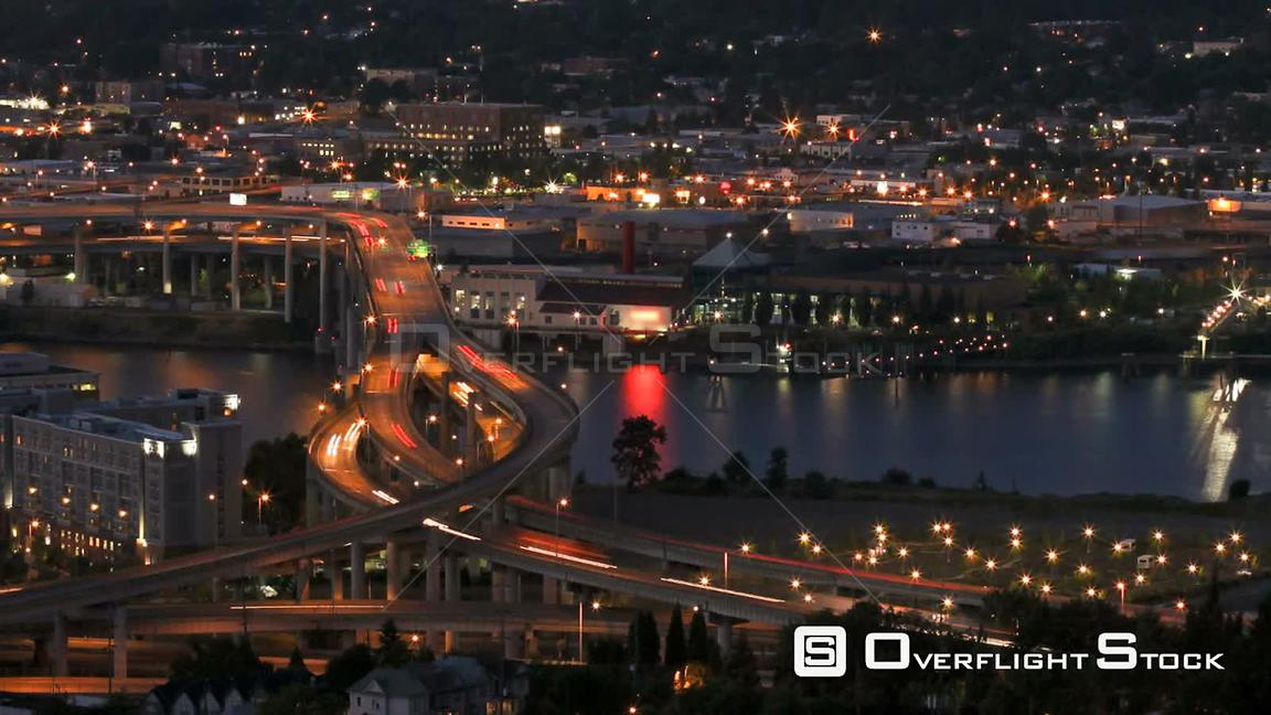 Portland Oregon Time lapse of I5 Marquam bridge traffic during evening.