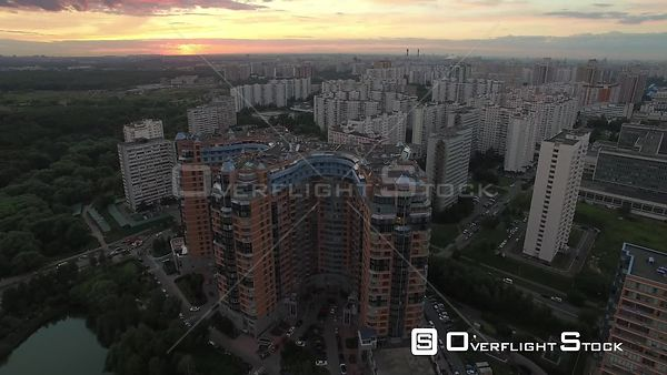 Urban Cityscape Flight During the Sunset, Fly Over. Moscow Russia Drone Video View
