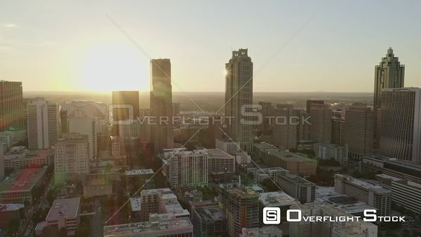 Atlanta Super bright downtown cityscape heading toward skyline into sunset