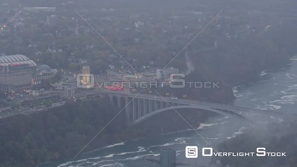 Niagara Falls Ontario Short panning view of Rainbow International Bridge and Niagara Falls, Ontario skyline