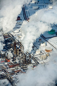 Montréal Oil Refinery in Winter. Quebec Canada