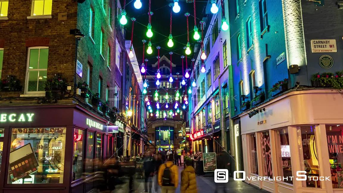 Timelapse view of famous Carnaby street in London at night
