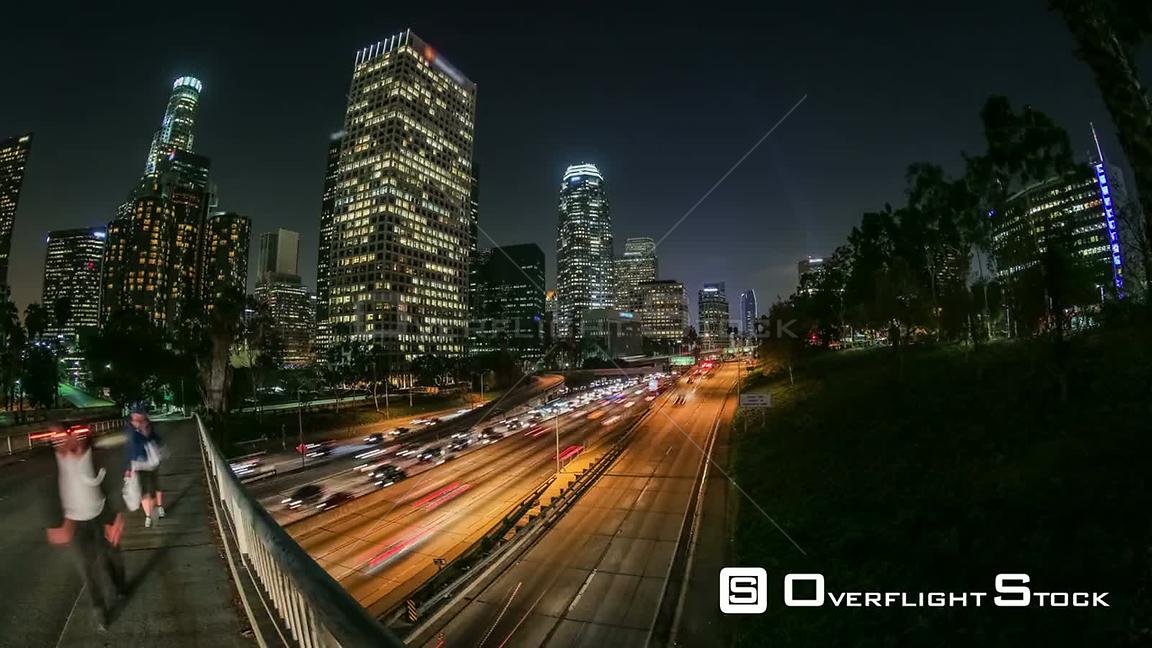 City traffic panning time lapse in downtown Los Angeles California