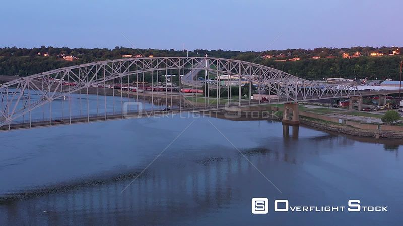 River and highways bridging the Mississippi River, Dubuque, Iowa, USA