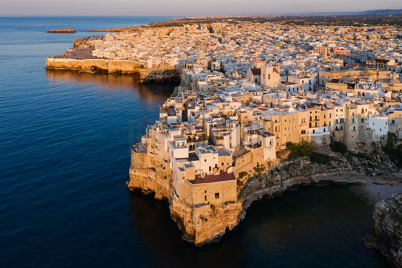 Aerial View of the Town of Polignano al Mare at Sunset