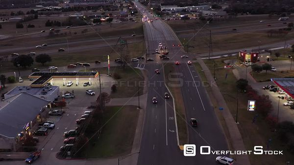Busy Intersections and a Bridge over a Freeway at Dusk, Bryan, Texas, USA