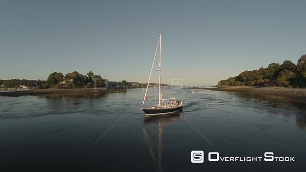Aerial shot of sailboat in York Harbor, Maine.