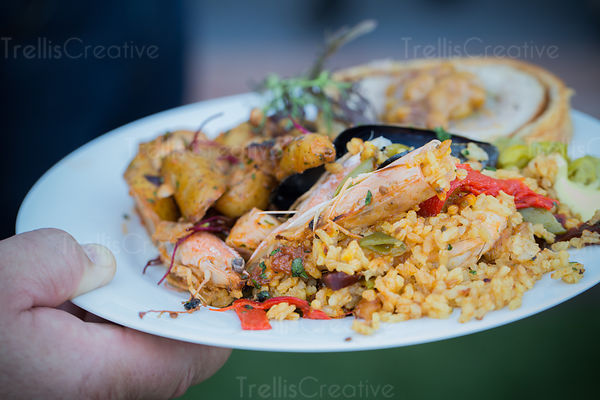 Close up of a plate of seafood paella.