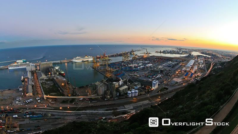 Barcelona Spain shipyard time lapse.