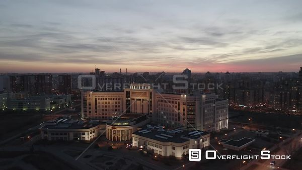 Moscow State University Library With City Lights Approach. Moscow Russia Drone Video View