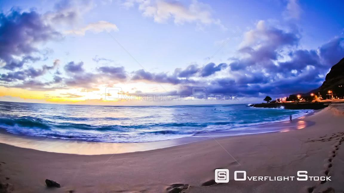 Beautiful beach time lapse clip during sunset  Hawaii