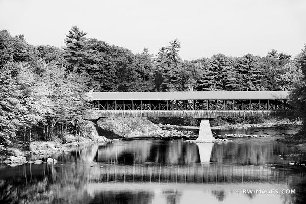 RED COVERED BRIDGE CONWAY NEW HAMPSHIRE BLACK AND WHITE