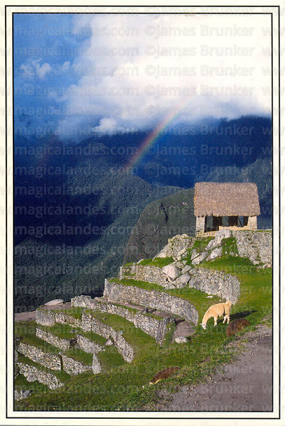 #103 The Hut of the Caretaker, llama and rainbow, Machu Picchu