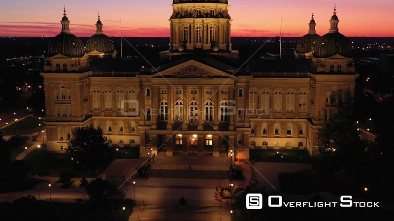 State Capital Building before Sunrise, Des Moines, Iowa, USA